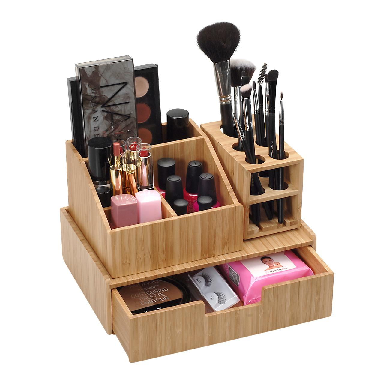 Bamboo Countertop Makeup Organizers with Drawers and Makeup Brush Holder for Storing Beauty Products, Cosmetics, Jewelry, or Toiletries